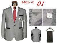 2014 New Men's Fashion Casual Sports Suit Men's Plaid Suit With Pants (jacket + Pants) Free Shipping Promotion