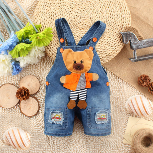 Newborn Baby Girls Boys Kids Denim Jeans One pieces Rompers Playsuits Clothes