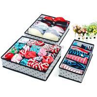 Home Organizer Women's Underwear Sorting Storage  Black Dot Foldable Box Case For Underwear Ties Silk Stockings Bra lingerie