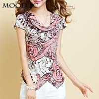 Female T-shirt new short-sleeved summer snow spins unlined upper garment of women's net yarn printing bud big yards dress