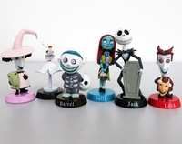 Nightmare Before Christmas Jack Sally Zero Barrel Shock Lock PVC Figure Toys 6pc