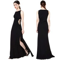 2014 Graceful Women Long Evening Dress Hollow Out on Waist Floor-Length Party Dress Black Dresses with Long Slit Best Quality