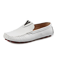 Free shipping 2014 new fashion mens comfortable loafers casual leisure simple sneaker leather driving shoes black white for men