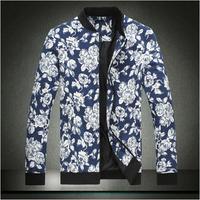 plus size 5XL flora printing casual jackets autumn winter spring men zipper jackets fashion Men's Clothing>>Coats >Jackets