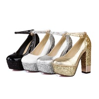 MEMOO 2014 Spring/Autumn US Size4-11 Women Pumps Fashion Ankle Strap Glitter High Heel Waterproof platform Solid Color B5281