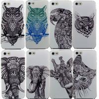 Vtg Style Head Case Aztec Elephant Giraffe Animal Hand Drawn Animal Back Case Cover For iPhone 4 4s 5 5s