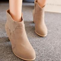 2014 Autumn New High Heel Scrub Ankle Boots Women Fashion Spring Thick Heel Short Boots Winter Footwear Botas Femininas Pumps
