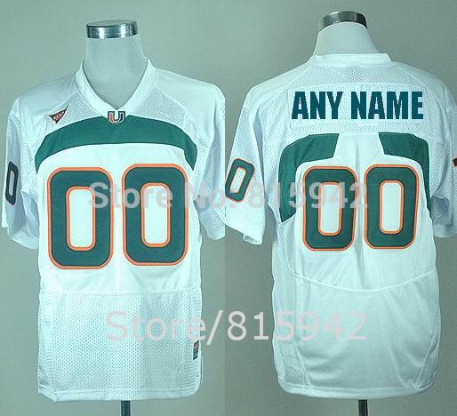 Personalized Miami Hurricanes Green Orange White Stitched Customized College Football Jerseys Custom Made Cheap(China (Mainland))