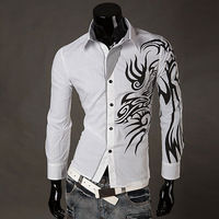 Mens 2014 New Casual Fashion Slim Fit Dragon Print Long sleeve Shirts Free shipping High quality Hot sale S-XXXL MCT149