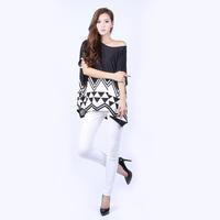 2014 New Fashion Women's plus loose chiffon shirt  printing blouse free shipping XM6018