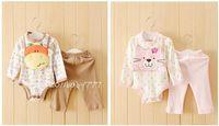 3PC New baby boys girls bodysuit+bibs+pants girls Cotton Set Clothes