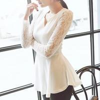 Women's Korea Style Flared Peplum Sexy Long Sleeved Chiffon Shirts HOT Style Lace Sleeve Blouse