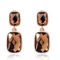 Christmas Delicate orange stone double square shape Earrings,Gift girlfriend beautiful,Pure handmade fashionable,ROXE053