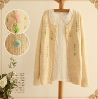 2014  autumn new arrival quality cardigan delicate flowers knitted sweater lacing lady cute sweater
