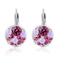 Christmas Delicate Platinum red    stone  Earrings,Gift girlfriend beautiful,Pure handmade fashionable,ROXE009