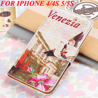 400pcs/Lot DHL Free Shipping Wallet PU Leather Phone Bag Case For iphone 4 4S 5 5S With Wallet Card Holder Handbag