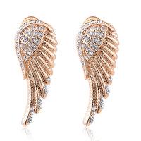 Christmas Delicate Rose Golden wings Earrings,Gift girlfriend beautiful,Pure handmade fashionable,ROXE037
