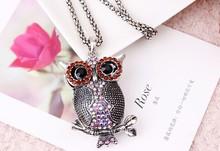 Strass bijou owl pendant long necklace/colar vintage jewelry collier women fashion 2014/kolyeyi/bijoux femmes/neckless/nacklace
