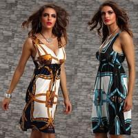 1057 2014 summer new fashion 4colors plus size v neck printed bohemian beach dress sexy party dresses pregnant women dress M,XXL