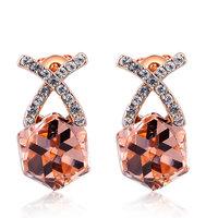 Christmas Delicate Rose Golden cross orange stone  Earrings,Gift girlfriend beautiful,Pure handmade fashionable,ROXE048