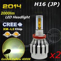 2pcs/lot 2014 New 4000 Lm CREE LED Headlight Kit Bulb H16 (JP) Golden Yellow 4000K 12V 24V 1year warranty