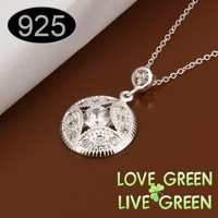 Free shipping Factory  round pendant Wholesale  Fashion Jewelry 925 sterling silver plated cupper alloy chain  446