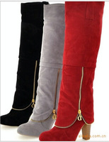 2014 Hot sale  Women's shoes Autumn winter New fashion ladies sexy Knee high boots high-leg zipper long boots Free shipping