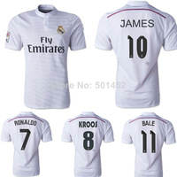 James Rodriguez Real Madrid 2015 Jersey Ronaldo T-shirt Home 14/15 Spain Jerseys Soccer No10 White Bale Sports Clothing