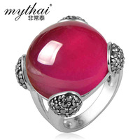 925 silver female  Fashion red corundum gem ring