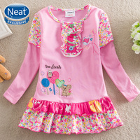 NEAT New 2014 baby & kids 100% cotton embroidered small animals dress girls decals little pure and fresh and dress children L356