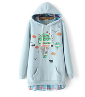 balloon print   hooded  pullover kawaii cartoon sweatershirt  2014 autumn faux two pieces  sweatershirt