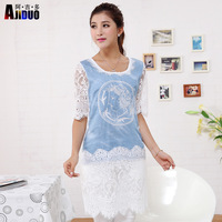 2014  Women Vintage Embroidered Plus Size Lace Sleeves Bodycon Summer Light Blue Denim Top and Lace Patchwork Casual Dress