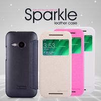Original Nillkin Casefor HTC One Mini 2 M8 mini 4 Colors Sparkle Series Leather PU Case, Wholesale/Retail