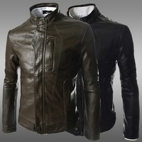 2014 Dimensional cut pocket design PU Imitation leather jackets men casual slim fit washed motorcycle leather jackets,M-XXL,PY23