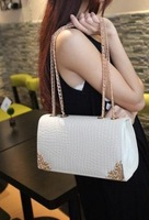 free shipping 2014 women's fashionable casual chain of packet messenger bag for Crocodile plaid handbag
