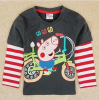 2014 autunm pig boy car tshirt kids cotton long sleeve stripe cartoon gray tshirt boy top wear