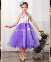 Wholesale new arrived girl flower party dress,kids girl Wedding princess lavender dress 3 color 4pcs/lot free shipping M-01
