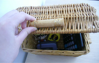 New Coming Brown Rectangle Small Size Eco-friendly Wicker Willow Storage Baskets with Cover