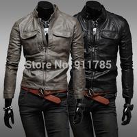 2014 Autumn Double pocket design PU Imitation leather jackets men casual slim fit washed motorcycle leather jackets,M-XXL,PY20