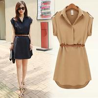 14 summer fashion shirt skirt plus size clothing short-sleeve dress slim
