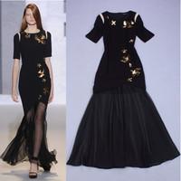 Fashion women black sequin embroidery maxi long dress sexy vestido de festa runway dress twinset