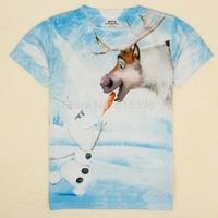 2014 New Summer Children t shirts Frozen Snowman Olaf Short Sleeves Boy's T Shirt baby & kids Boys Clothes C5171