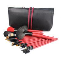 18 PCS Professional Makeup Brushes Goat Hair Red Cosmetic Brush set Make Up Kit With Black Case Free Shipping