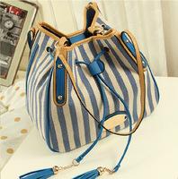 Bucket bag 2014 women's stripe casual canvas handbag large bag navy style messenger bag