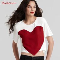 normic patchwork fashion loose big red hearts o-neck short design short-sleeve shirt t-shirt c062