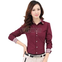 Promotion New Fashion Women Long Sleeve stand Collar Patchwork 4 colours Plus Size Blouse Tops Women Shirts B16 SV006398