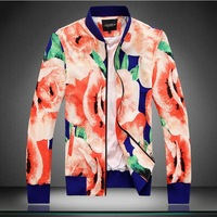 2014 new College Style big flower printed stand-up collar jackets men casual slim jacket Outerwear for men,plus size M-5XL205