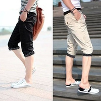 Slim capris men's clothing knee length casual pants trousers male trousers male shorts breeched male M-XXL