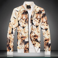 2014 new College Style Rose flower printed stand-up collar jackets men casual slim jacket Outerwear for men,plus size M-5XL206