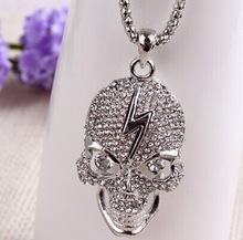 Silver skull pendant long necklaces/collares vintage white necklace women 2014 jewlery accessories/colar/bijoux/collier/caveira